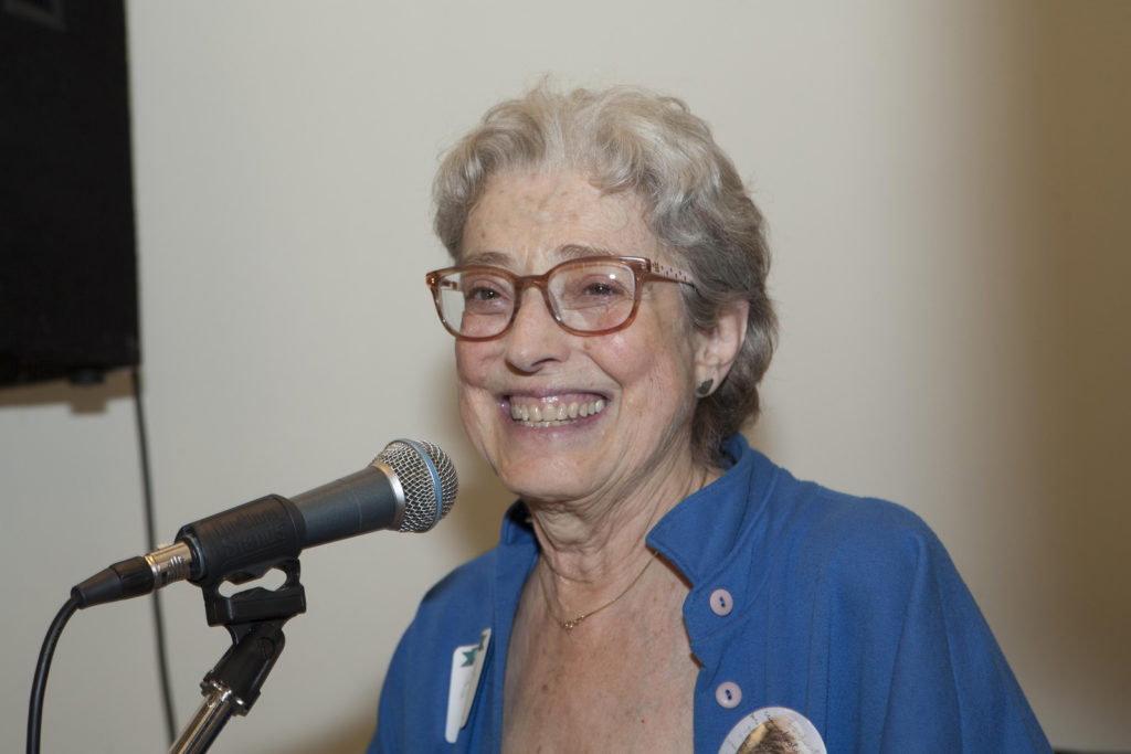 Barbara Bloom speaking at Mt. Airy Learning Tree's 35th Anniversary celebration in 2016.